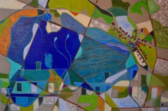 "Caspian Lake - Greensboro, Vermont  CEnzHack acrylic on linen  20x30""  2016 Sm"