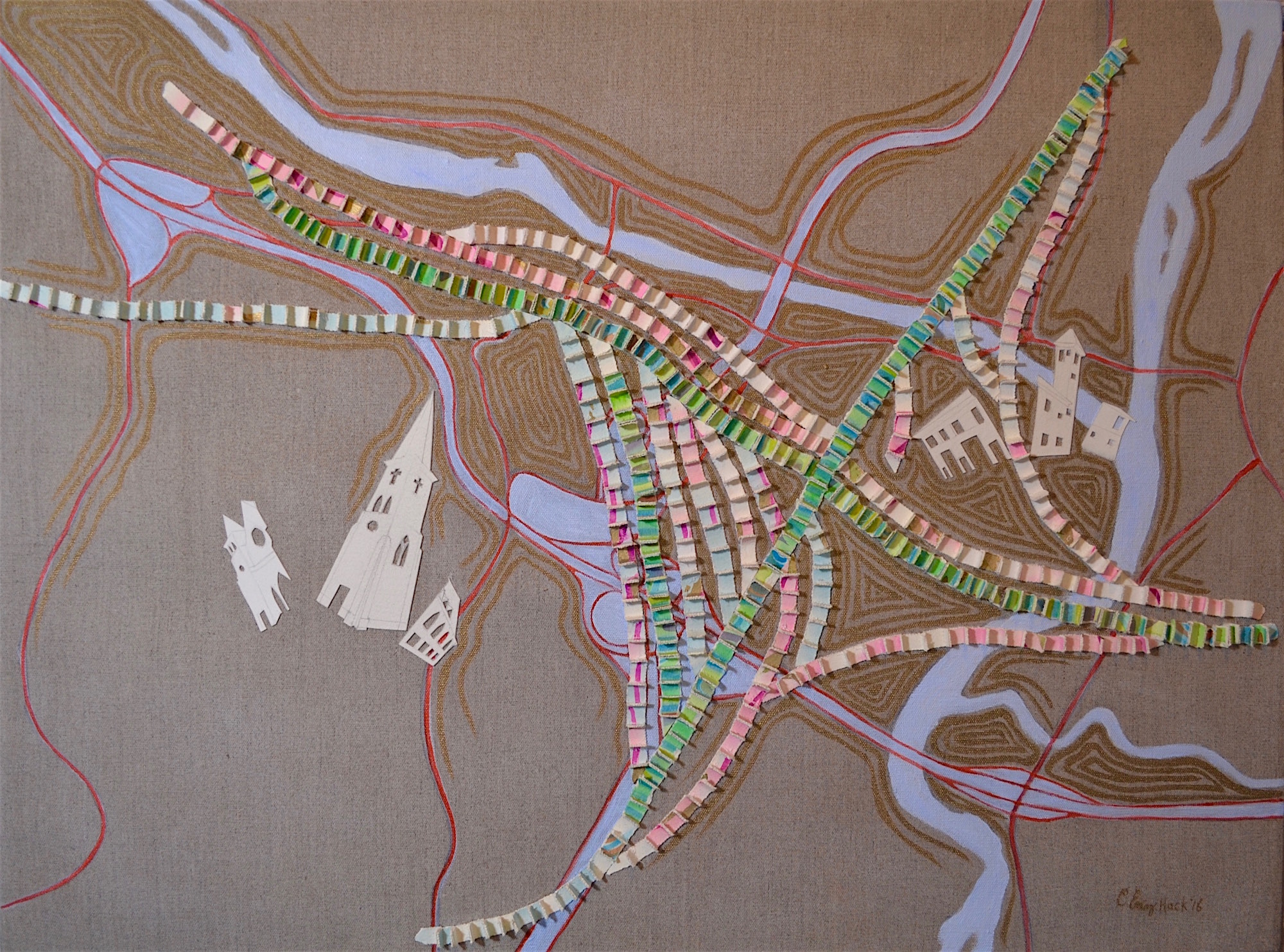 "Confluence, Sidetrack, Interchange - White River Junction, Vermont Carolyn Enz Hack acrylic on linen 30x40"" 2016"