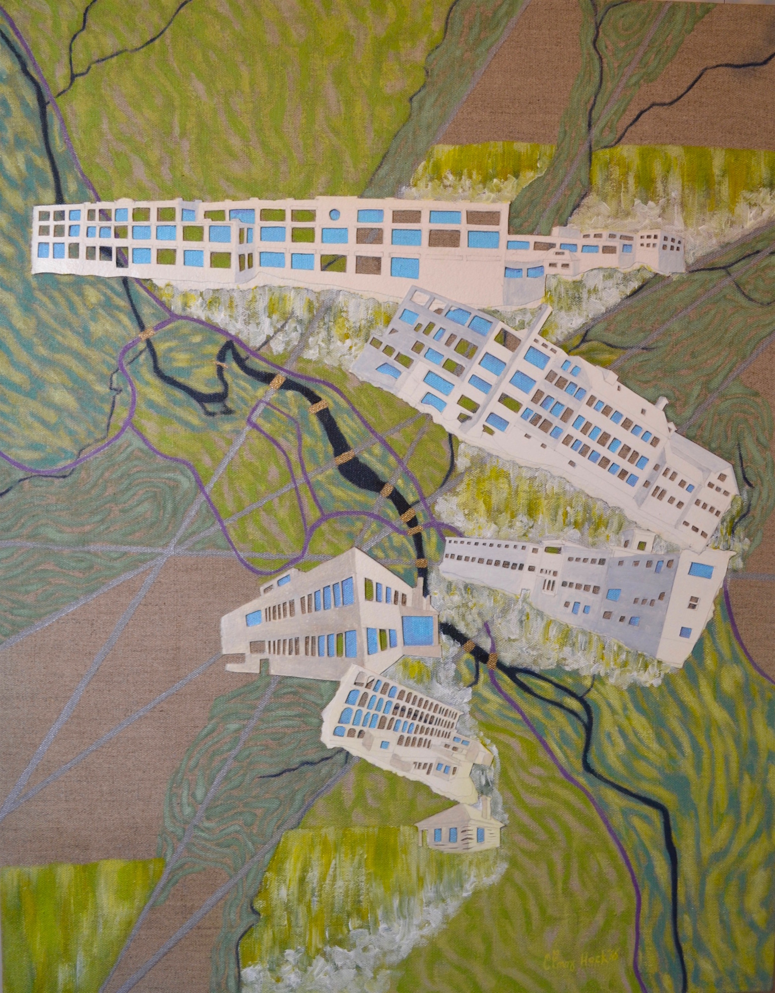 "Five Bridges, Six Dams - Springfield, Vermont Carolyn Enz Hack acrylic on linen 36x28"" 2016"