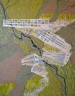 "Five Bridges, Six Dams - Springfield, Vermont   CEnzHack acrylic on linen  36x28""  2016 Sm"