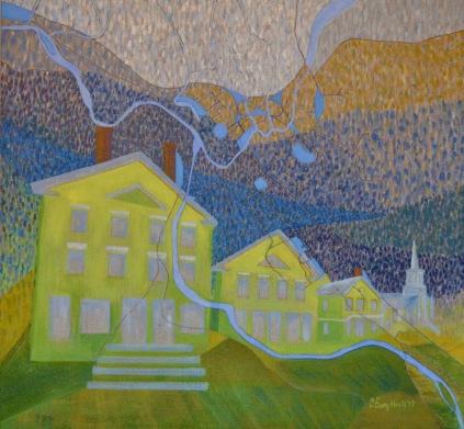 "Shadow of the Winooski - Waterbury, Vermont acrylic on linen 28 x 30"" 2017"