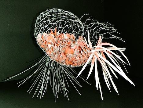 "Cornucopic Brain wire, hi tec kozo paper, gouache 16x20x22"" 2012"