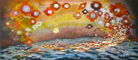 """A Single Act of Kindness oil, gold leaf 24x54"""" 2012"""