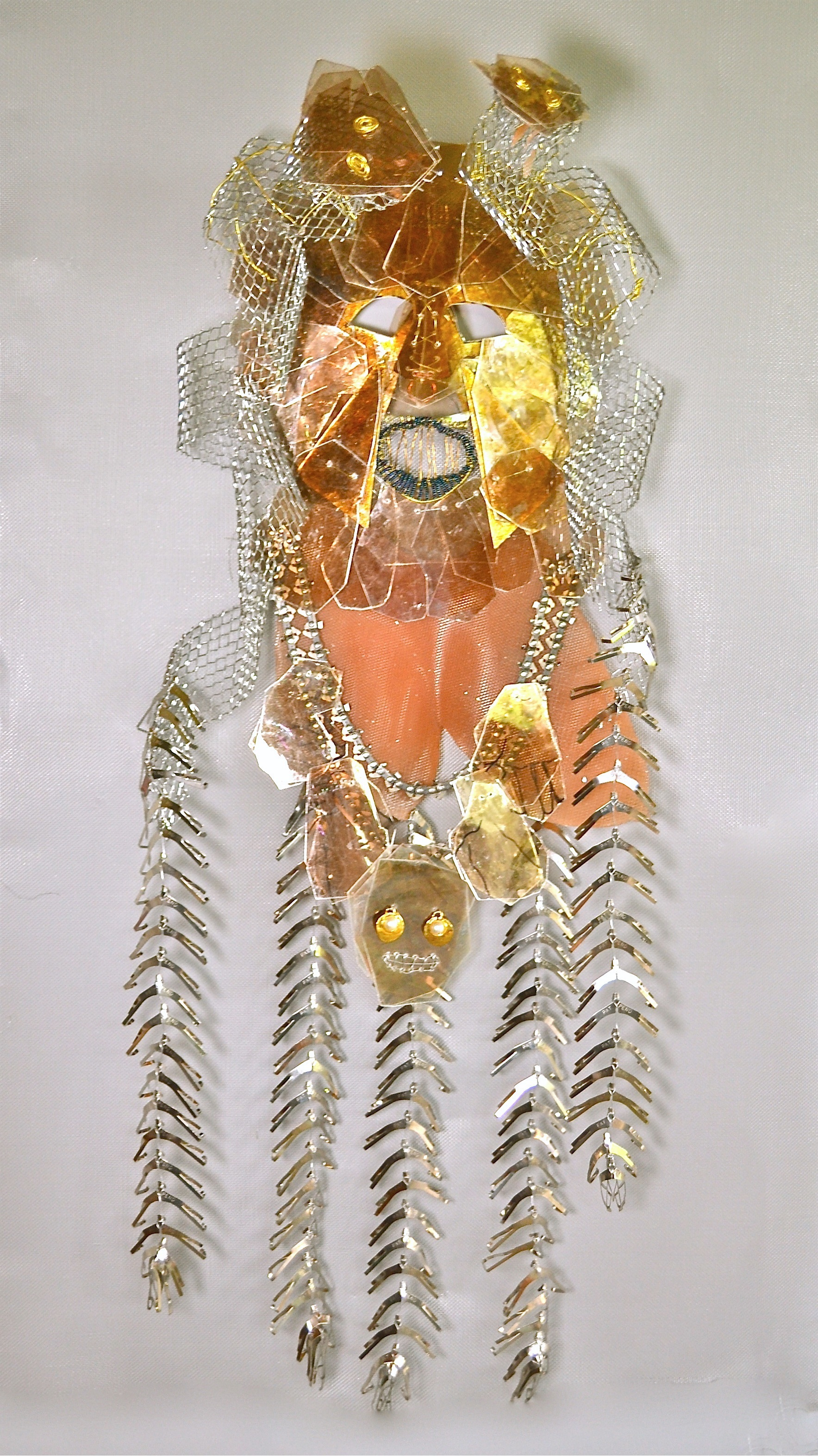 "Coatlique Mask wire, mica, screen, found objects, ink 48x30x8"" 2014"