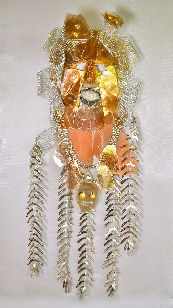 """Coatlique Mask wire, mica, screen, found objects, ink 48x30x8"""" 2014"""