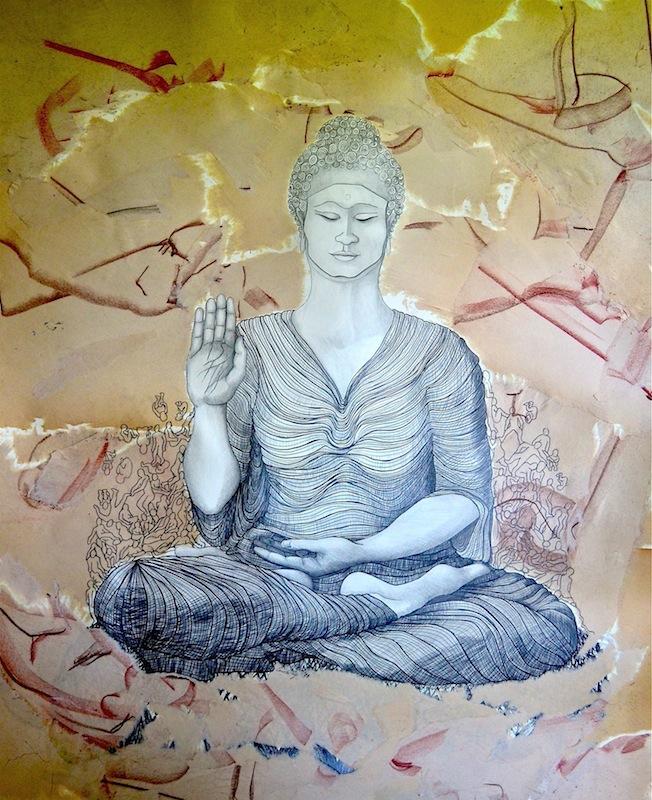 "Buddha   graphite, ink on paper  47x38""  2014"