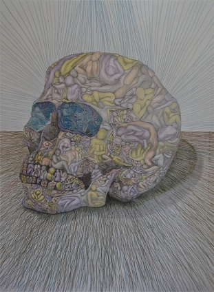 "Nine Billion Nightmare Skull   graphite, colored pencil, ink on paper ""36x30""  2013"