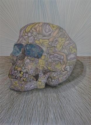 "Nine Billion Nightmare Skull   graphite, colored pencil, ink on paper ""36x30""  2013"