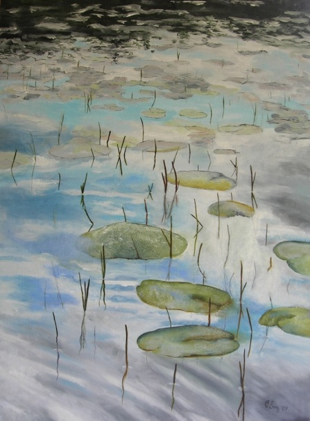 "Maine Pond Waterlilies oil 38x28"" 2009"