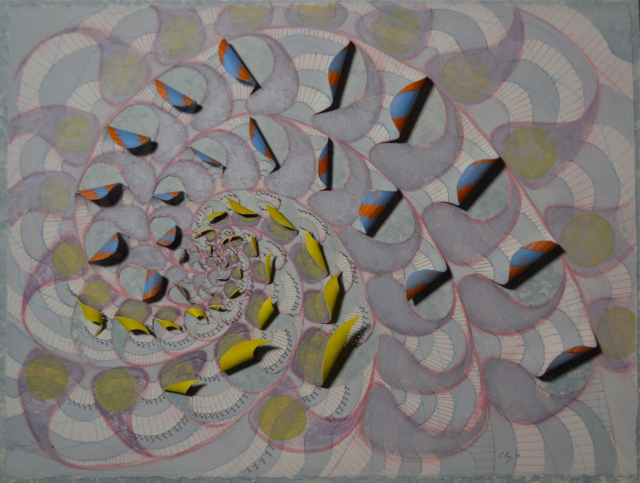 "Motion Commotion acrylic, ink, colored pencil, straight pins on paper 31x24x2"" 2014"