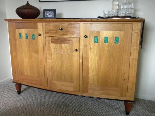 Whiskey Cabinet 2006 faux malachite woodworking by Garrett Hack