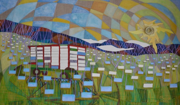 "Thousands of Cords, Thousands of Bales - W Walden, Vermont paper,acrylic on linen 24x40"" 2017"