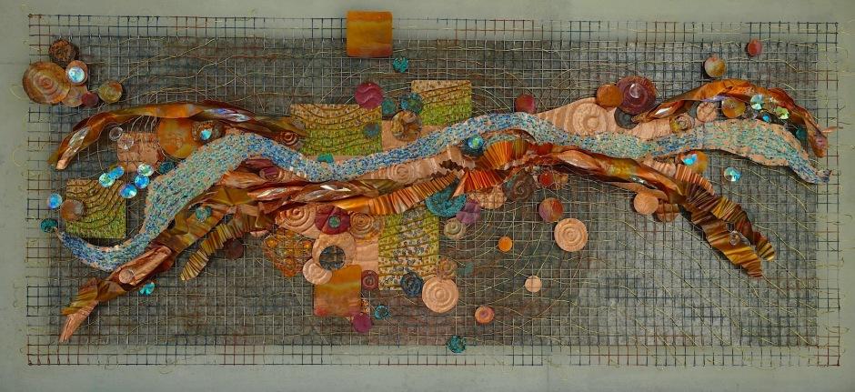 "a History of Water oil, metal, mica, Swarovski crystal 36x84"" 2017"
