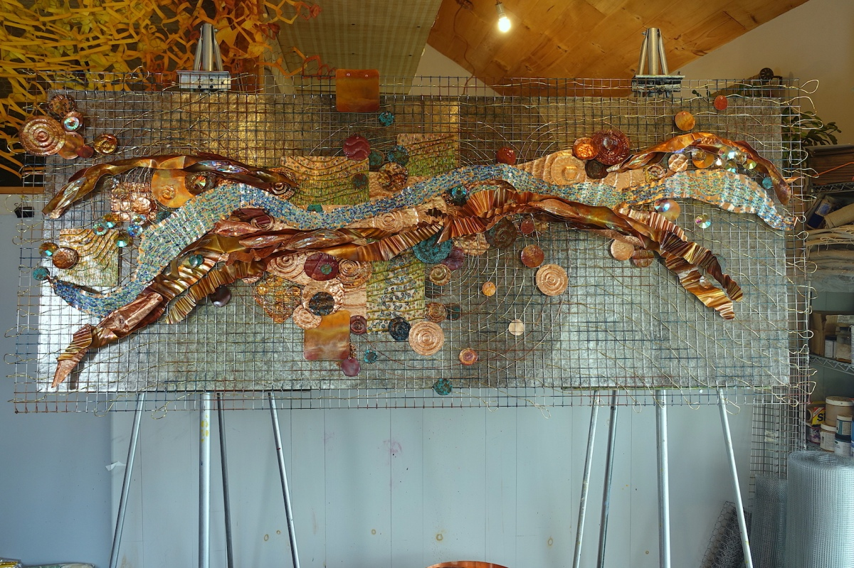 a History of Water in my studio oil, metal, mica, Swarovski crystal 36x84