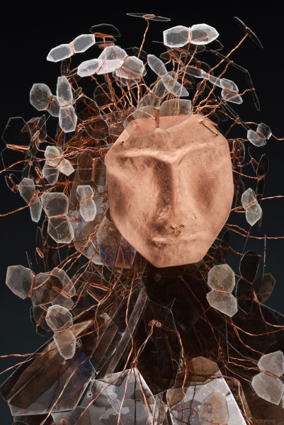 "Eve_s Daughters face CEnzHack mica, wire, copper, Swarovski crystal 31x15x15"" 2018 Josh Farr Sm"