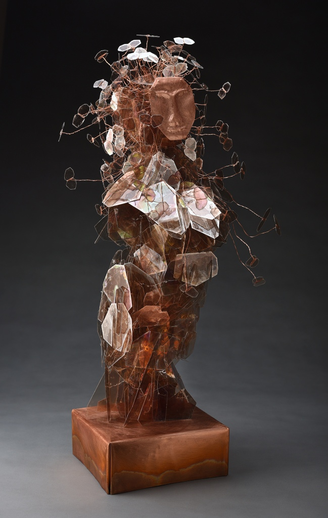 Eve's Daughters, Carolyn Enz Hack mica, wire, copper, Swarovski crystal 31x15x15""