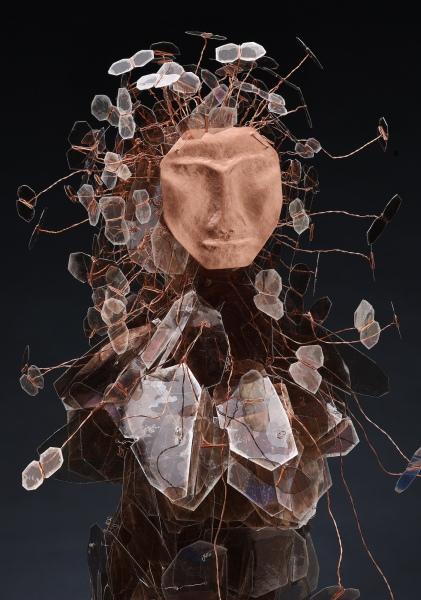 "Eve's Daughters mica, wire, copper, Swarovski crystal 31x15x15"""