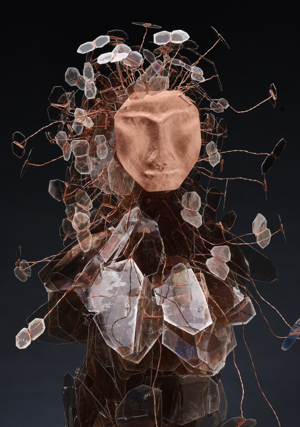 "Eve_s Daughters portrait view CEnzHack mica, wire, copper, Swarovski crystal 31x15x15"" 2018 Josh Farr Sm"