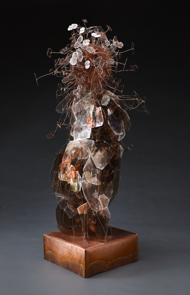Eve's Daughters Carolyn Enz Hack mica, wire, copper, Swarovski crystal 31x15x15""