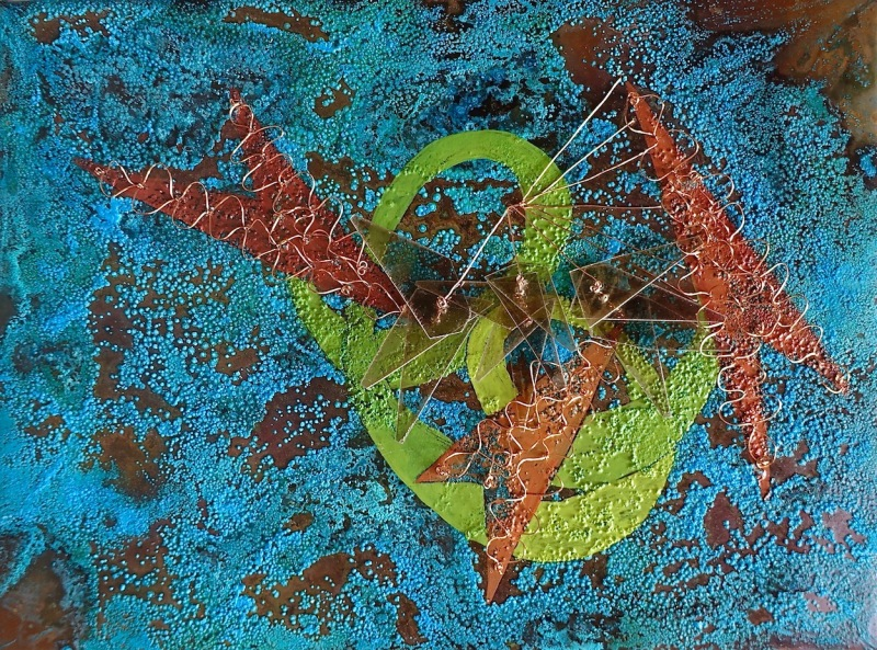 Hummingbird CEnzHack oil on patinated copper, mica, wire 9x12""
