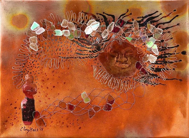 "Spell CEnzHack patinated copper, mica, mixed media 9x12x4"" photo Josh Farr"