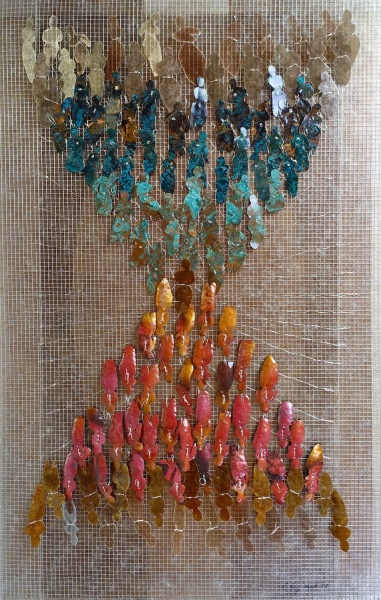 a History of the Self patinated copper, mica, steel, mixed media 36x22x2