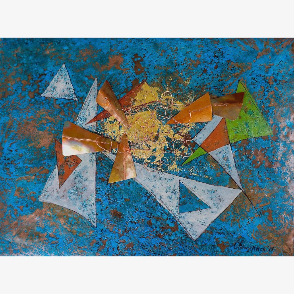 """Celestial Party Carolyn Enz Hack oil on patinated copper, gold leaf, wire 9x12x2"""""""