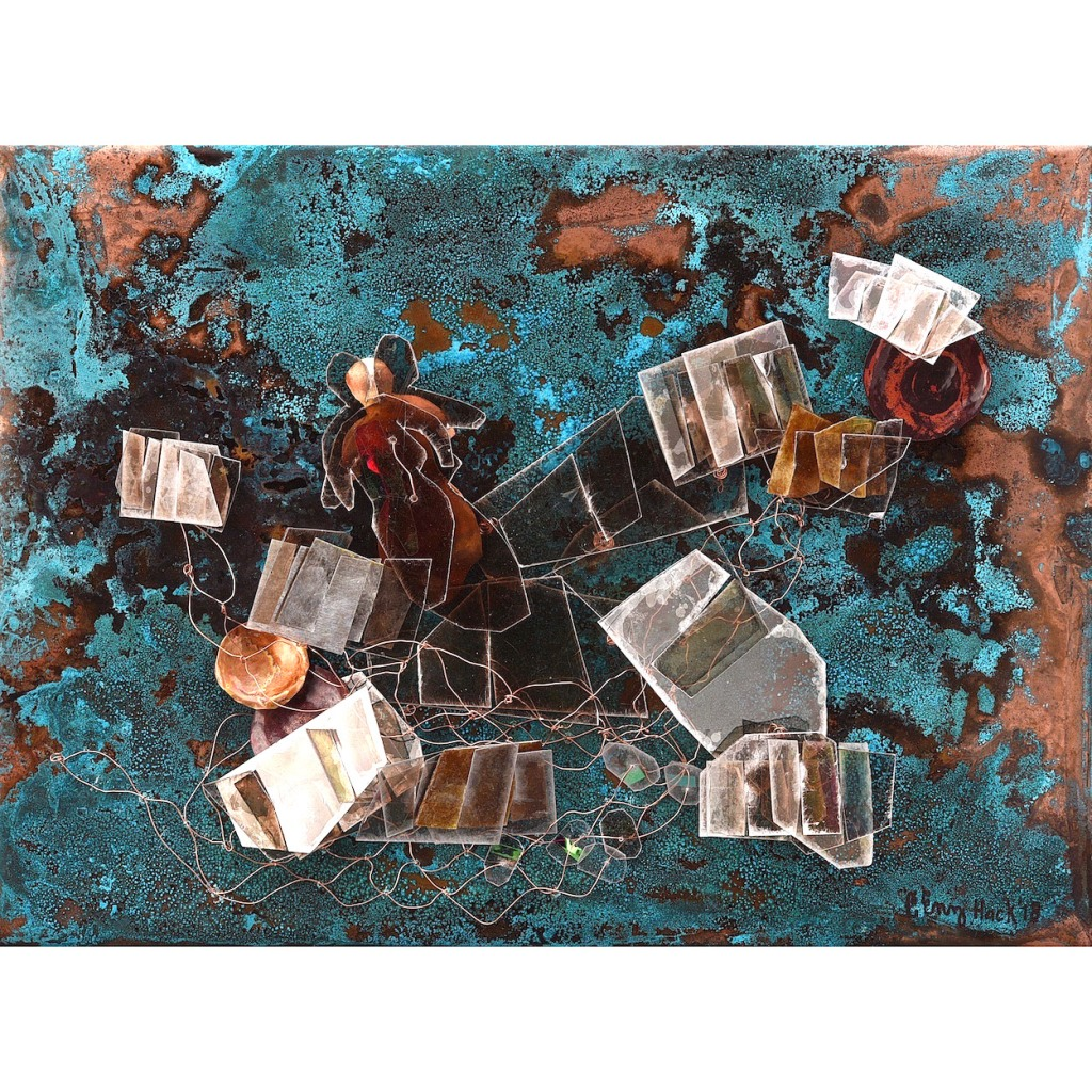 Dreaming the Messier Objects Carolyn Enz Hack patinated copper, mica, mixed media 9x12x2""