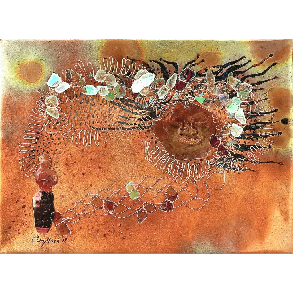 "Spell Carolyn Enz Hack patinated copper, mica, mixed media 9x12x4"""