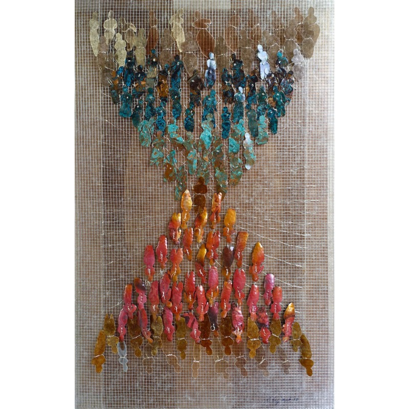 a History of the Self Carolyn Enz Hack patinated copper, mica, steel, mixed media 36x22x2_ 2018