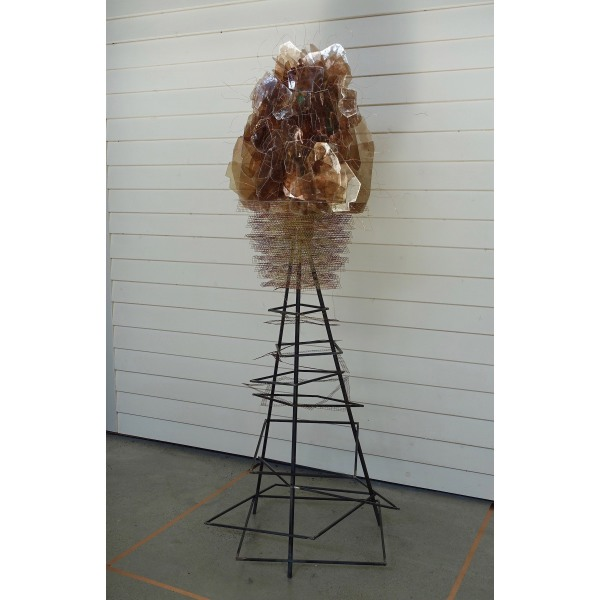 "Ascendant - Obfuscation Carolyn Enz Hack steel, wire cloth, mica, copper 60x16x16"" 2018"