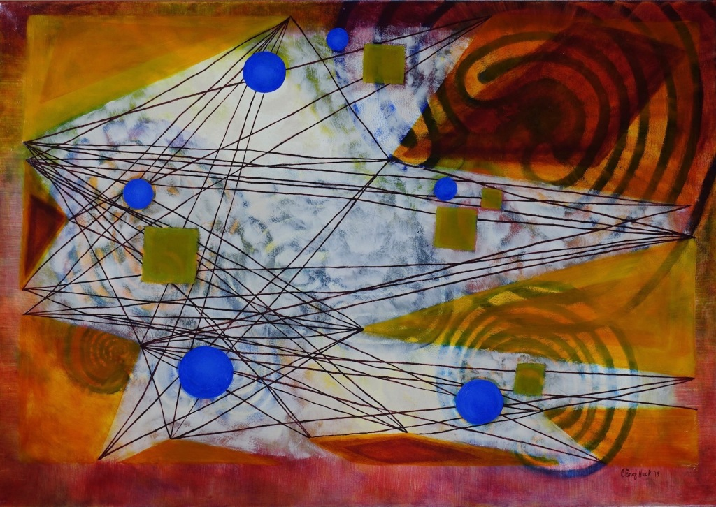 Connected In Space and Time Carolyn Enz Hack oil on canvas 28x40""