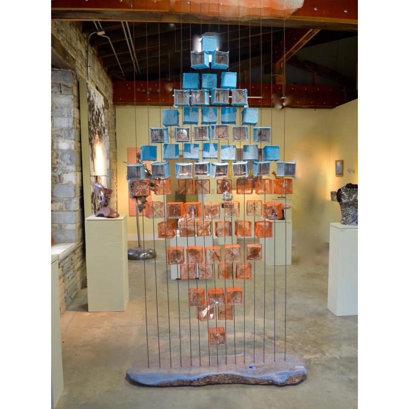 Encountering - the Space Between Carolyn Enz Hack wire, wood, mica, felt, mylar, acrylic