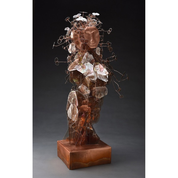 "Eve's Daughters Carolyn Enz Hack mica, wire, copper, crystal 31x15x15"" 2018"