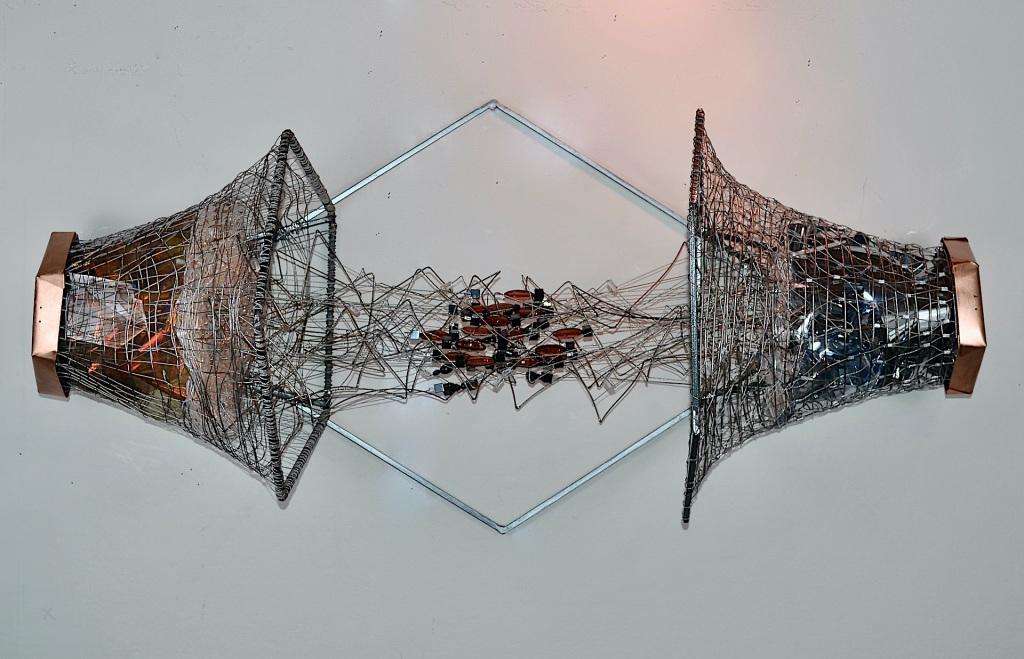 "Eternal Fulcrum copper, steel, steel cable, glass, lucite, mica, dichroic film, mirror film 17x40x17"" 2021"