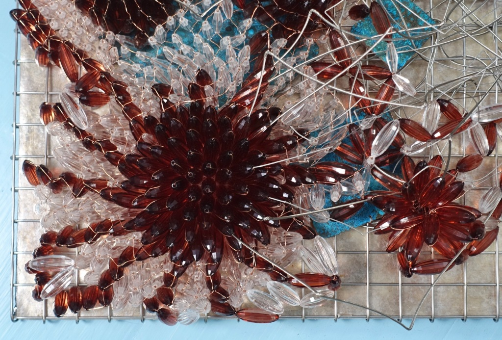 "the Conversation, Artist and Engineer Carolyn Enz Hack stainless steel, copper, mica, lucite 18x47x5"" 2019 detail"