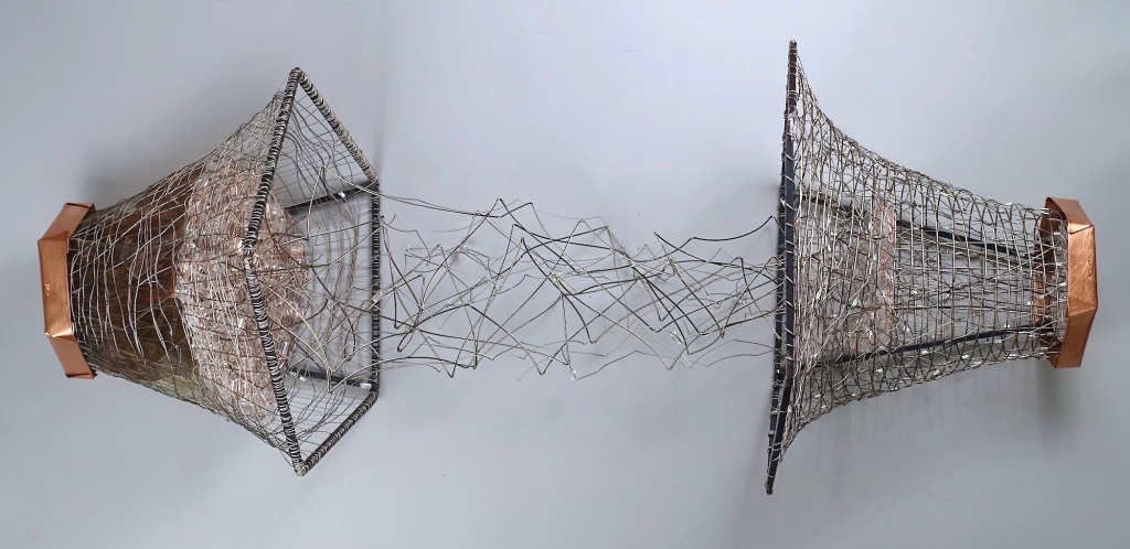 "Conversations, Friends Carolyn Enz Hack copper, steel, steel cable, lucite, mica 17 x variable x 17"" 2019"