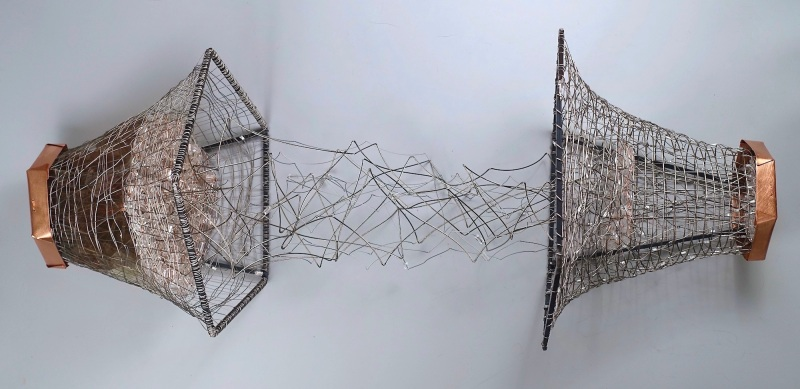 """Conversations, Friends Carolyn Enz Hack copper, steel, steel cable, lucite, mica 17 x variable x 17"""" 2019"""