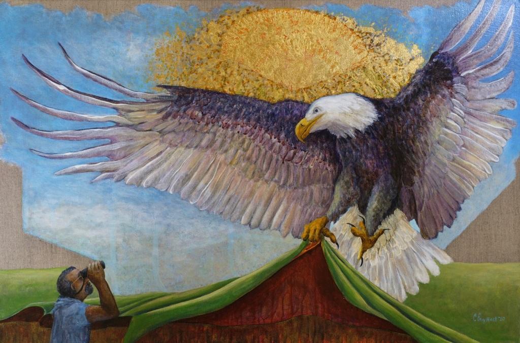 """Eagle acrylic on linen 32x48"""" 2020"""