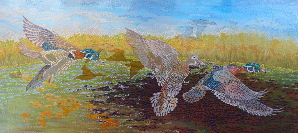 """Wing Whir acrylic on linen 27x60"""" 2020"""