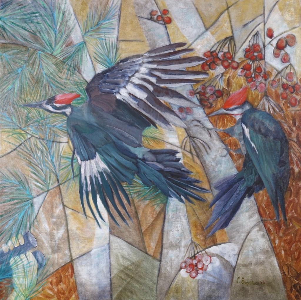 "Pileated Carolyn Enz Hack Woodpeckers acrylic on linen 40x40"""